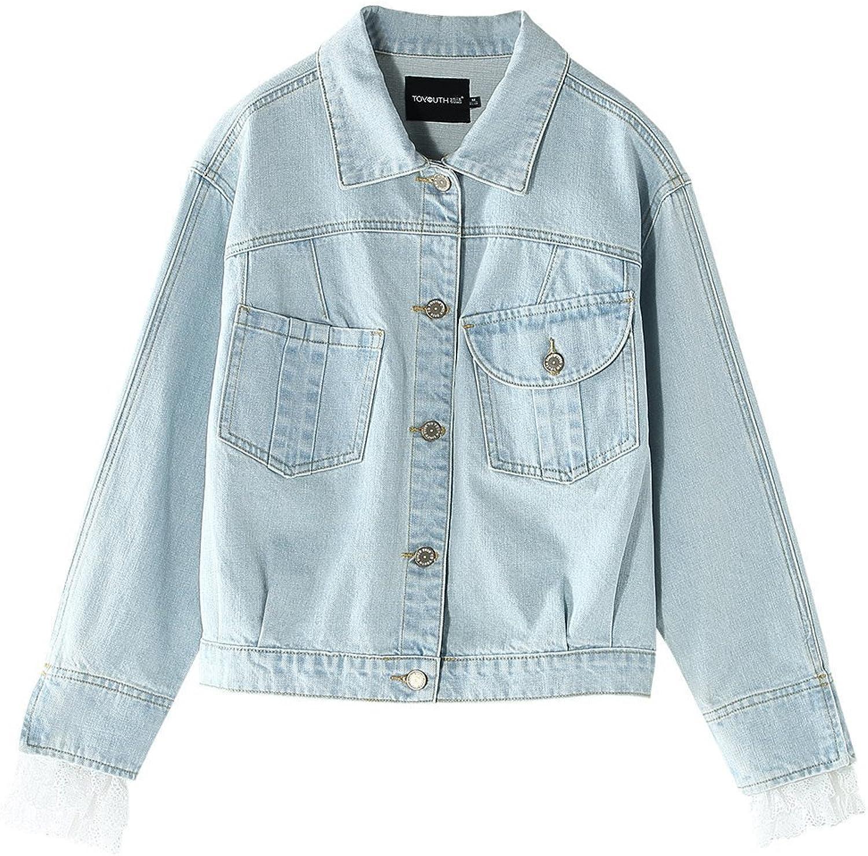 Toyouth Women's Distressed Basic Lace Trim Long Sleeve Denim Jacket