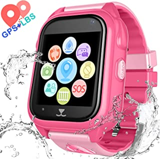 Kids Waterproof Smartwatch with GPS Tracker - Boys and Girls IP67 Smart Watch Phone with Camera Games Sports Watches Back to School Supplies Grade Student (02 S8 Pink)