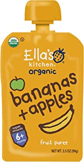Ella's Kitchen 6+ Months Organic Baby Food, Bananas + Apples, 3.5 oz. (Pack of 6)