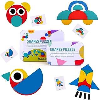BBLIKE Tangram, 36 Montessori Puzzle Bois + 60 PCS Cartes de Conception Jouets Éducatifs Jeux de Tri et d'Empilement pour ...