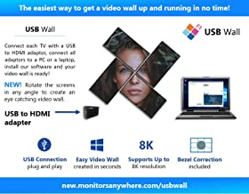 USB Wall - Create a video wall using a standard PC or laptop! align your screens in any angle and any layout! HDMI over USB, USB to HDMI, ThinGlobal MiniPoint USB adaptor