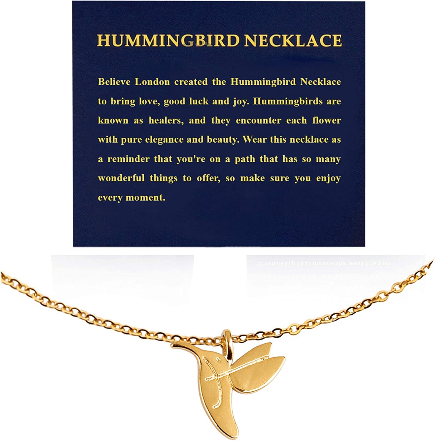 Believe London Unicorn Compass Mountain Necklace for Women Friendship Anchor Good Luck Pendant Chain Girls Jewelry Message Gift Card