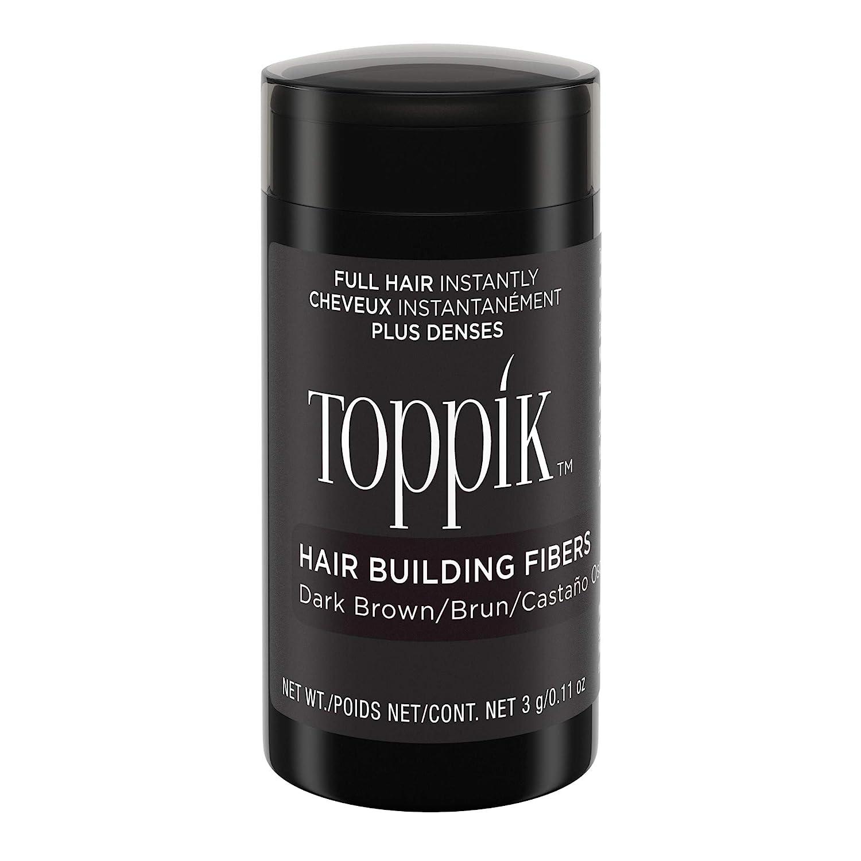Toppik Fibras Capilares Castaño Oscuro, Fibras de Queratina para Crear más Densidad en el Cabello de Forma Inmediata, 3 g