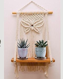 Boho Macrame Wooden Wall Hanging Shelf, Modern Chic Woven Macrame Tapestries, Wall Art Home Decor for Apartment, Dorm, Bed...