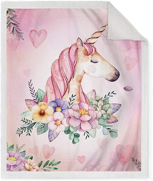 Jekeno Unicorn Sherpa Blanket Comfort Warm Cartoon Fleece Throw Blanket For Couch Bed Sofa Girl Gift Pink 50 X60
