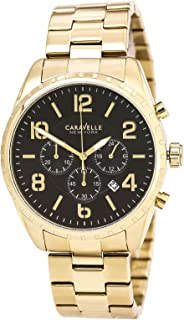 Caravelle New York Men's Quartz Watch with Stainless-Steel Strap, Gold, 22 (Model: 44B114)
