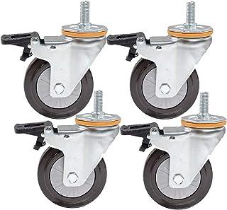 STEM M14/16 zwenkwielen, industriële transferrol, materiaal van rubber, eenvoudig wiel, 4 stuks draagvermogen 112 kg (kleu...