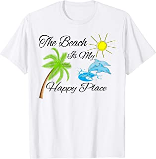 The Beach is My Happy Place Dolphin Palm Tree Sun T-Shirt