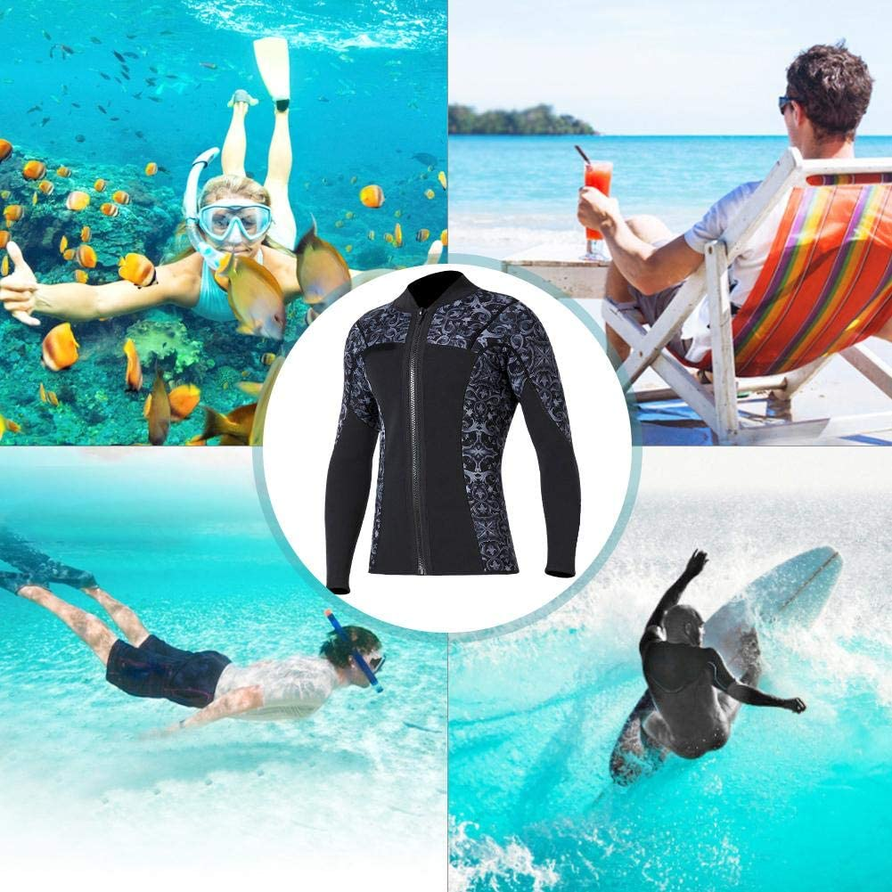 Long Sleeve Diving Jacket 3mm SCR Neoprene with Zipper Swimming Scuba Outdoor Fun for Diving Snorkeling Surfing Mens Blue, M Surfing Jacket