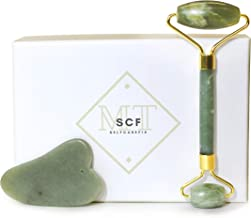 SelfcareFix - Anti-Aging Natural Skincare Kit - Jade Facial Roller and Gua Sha Stone Spa Tools - For Face, Eyes, Back, and Body