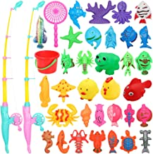 POWOBEST Magnetic Fishing Toys Game Set Learning Education Fishing' Bath Toys for Kids in Bathtub Pool Bath time (Type 1)