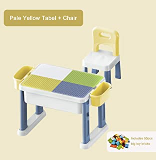 Kebo Multifunctional Kids Plastic Learning Drawing Playing Storage Table and Chair Set School Home Furniture for Toddler Children Aged 3-10 Years Old CPC Test Passed Yellow