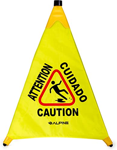 Alpine Industries Pop-Up Wet Floor Sign - Portable Three Sided Caution Cone - Slip & Fall Accident Prevention - for C...