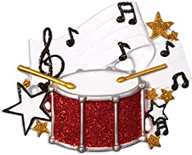 Personalized Band Christmas Tree Ornament 2019 - Glitter Drum Percussion with Music Note Strings Treble Clef Performs Concert Instrument Hobby Profession Teacher Gift Year - Free Customization