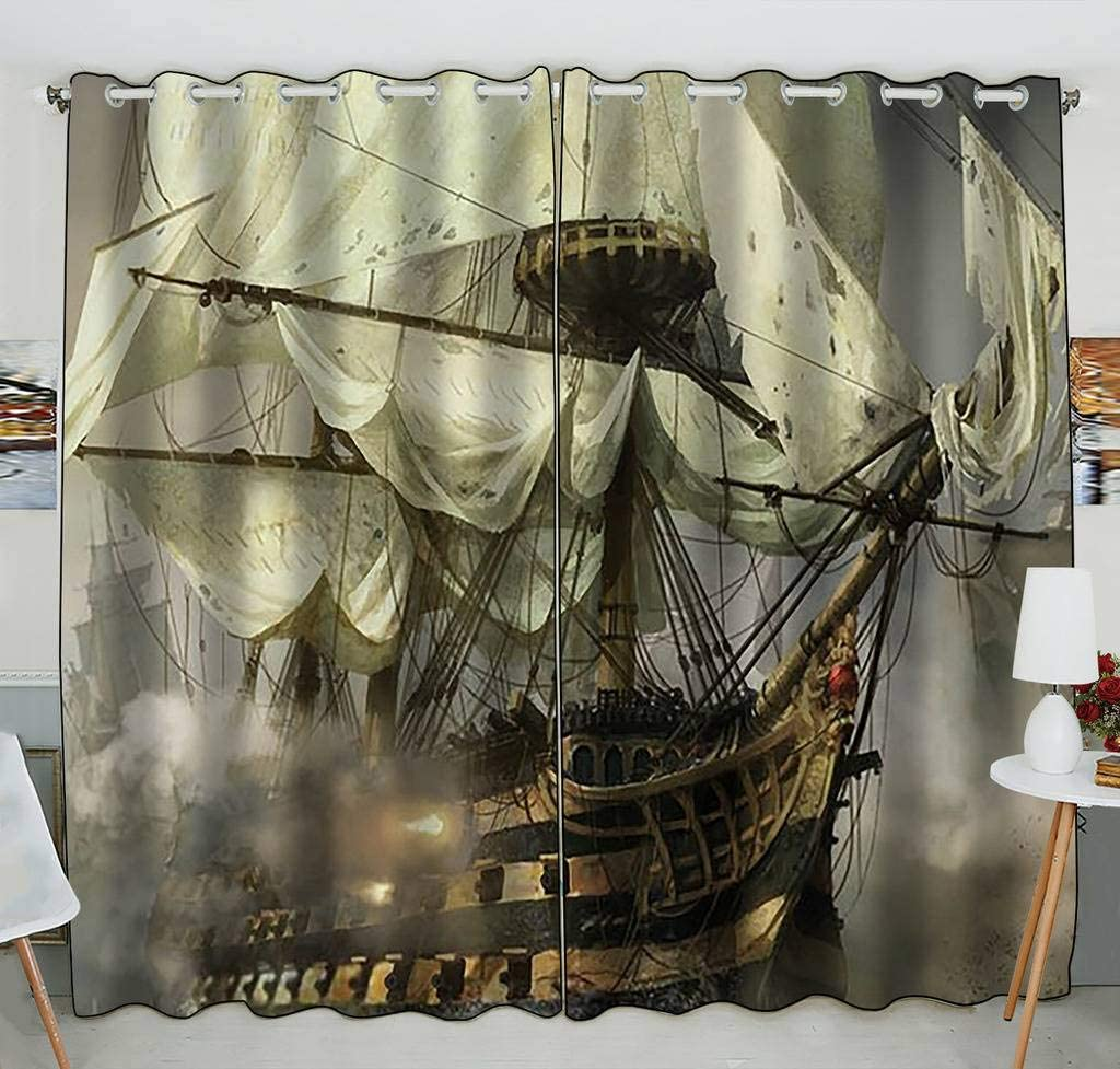 Custom Cool Pirate Ship Blackout Window Panel Seasonal Wrap Introduction Outstanding Curtains Treatment