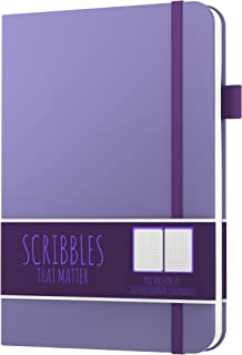 $21 » Dotted Journal by Scribbles That Matter - Create Your Perfect Bullet Journal with Ultra Thick 160gsm No Bleed Paper - A5 Hardcover Notebook - Fountain Pens Friendly Paper - Pro Version - Lavender