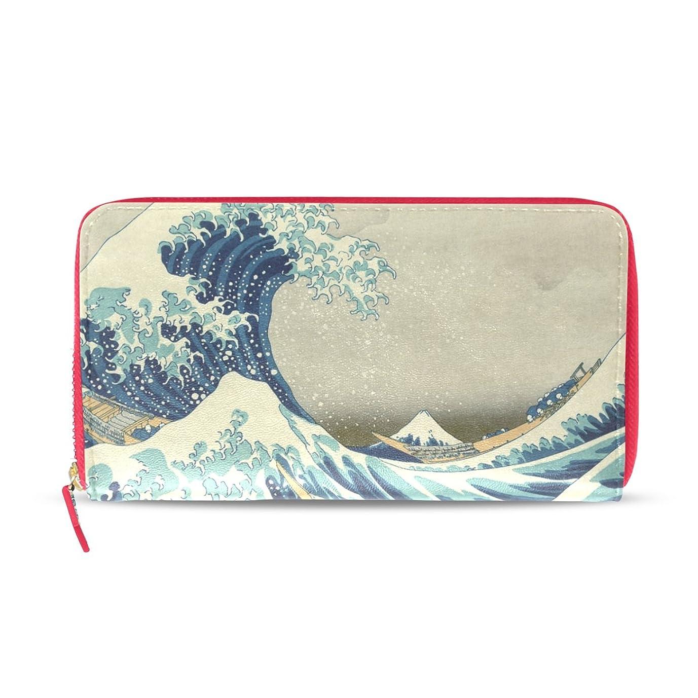 結婚するみなさんほとんどの場合AOMOKI 財布 レディース 長財布 大容量 葛飾北斎 波 ラウンドファスナー PUレザー 幅20*丈11cm