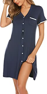 Short Sleeve Nightgowns for Women, Cute Pajama Top Buttom Down Sleep Shirt Dress