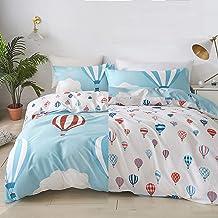 Brandream Kids Boy Girl Bedding Set Queen Size 100% Cotton Blue Bedding Adventure Hot Air Balloon Duvet Cover Set (No Comf...