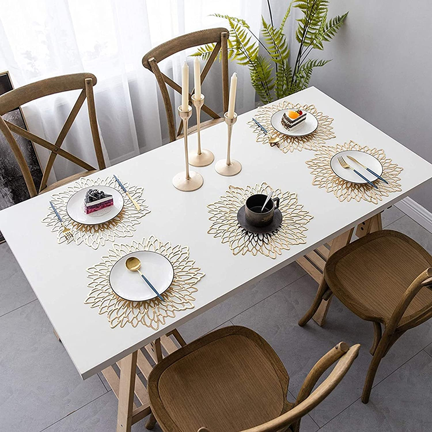 Buy 9PCS Pressed Vinyl Metallic Placemats and Coaster Sets,Round ...