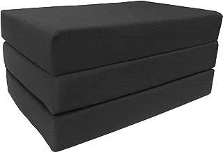 D&D Futon Furniture Black Full Size Shikibuton Trifold Foam Beds 6 x 54 x 75, High Density Resilient White Foam 1.8 lbs, Floor Foam Folding Mats.