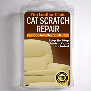 Leather CAT SCRATCH Repair Kit. Easy to Use. Complete with Filler & Colour. (Dark Brown)