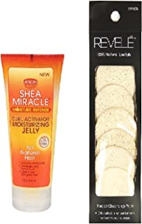 African Pride Shea Miracle Curl Activator Moisturizing jelly 6oz with Loofah facial cleansing pad