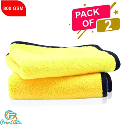PrimAlite Microfiber Cleaning Cloth 800 GSM for Car & Motorbike- Pack of 2 (30 x 30 cm) for Home & Kitchen, Mobile, L...