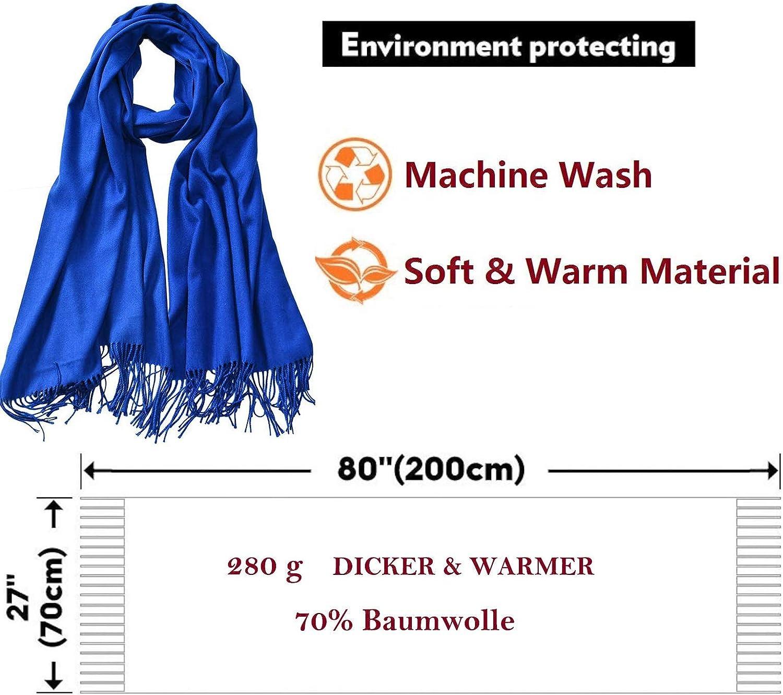 Kuckuck Schal Damen aus 70% Baumwolle, 10+ Winter Schals Königsblau 2020 Neu