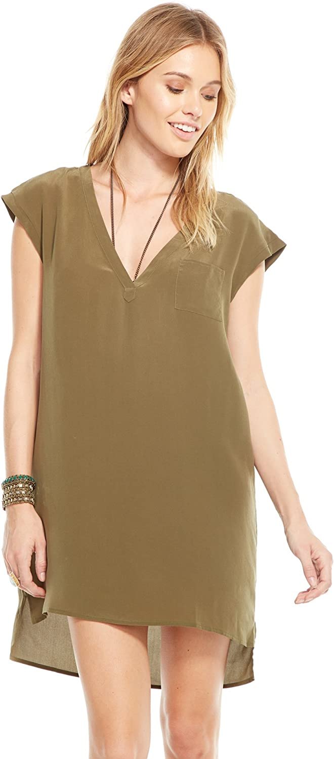 Chaser Clothing Military Silk Crepe VNeck Henley Mini Dress W Pocket