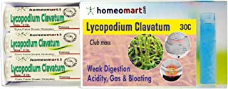 Homeopathy Lycopodium Clavatum 30C Pills for weak Digestion, Acidity, Gas or Flatulence & Bloating. Pack of 3 in Glass vials