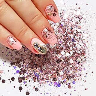 Box Nail Glitter Mix Hexagon 3D Flakes Dipping Powder Sequins For Nails Holographic Spangles Nail Art Decoration DIY (# Pink)