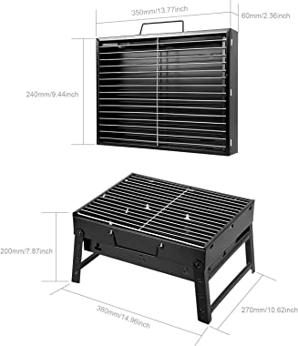 Uten BBQ Grill Portable, Charcoal Barbecue Grill Smoker Grill for Outdoor Cooking Camping Hiking Picnics Small (Small)
