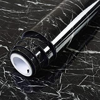"""Vinyl Marble Granite Contact Paper Self Adhesive Wallpaper Peel-Stick W17.7"""" X L118"""" Black Granite Wallpaper Marble Counte..."""