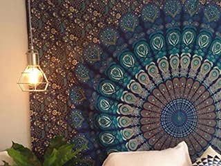 Indian Mandala Wall Hanging Tapestry, Hippie Hippy Tapestries, Feather Peacock Print Tapestry, Cotton Handmade Badsheet, T...