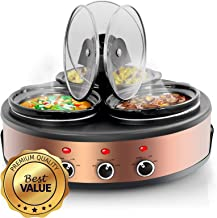 MegaChef MC-1103 Round Triple 1.5 Quart Slow Cooker and Buffet Server Copper 3 Ceramic Cooking Pots and Removable Lid Rests, Brushed Copperwith Black Finish