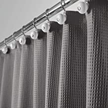 """mDesign Hotel Quality Polyester/Cotton Blend Fabric Shower Curtain with Waffle Weave and Rust-Resistant Metal Grommets for Bathroom Showers and Bathtubs - 72"""" x 72"""" - Gray"""