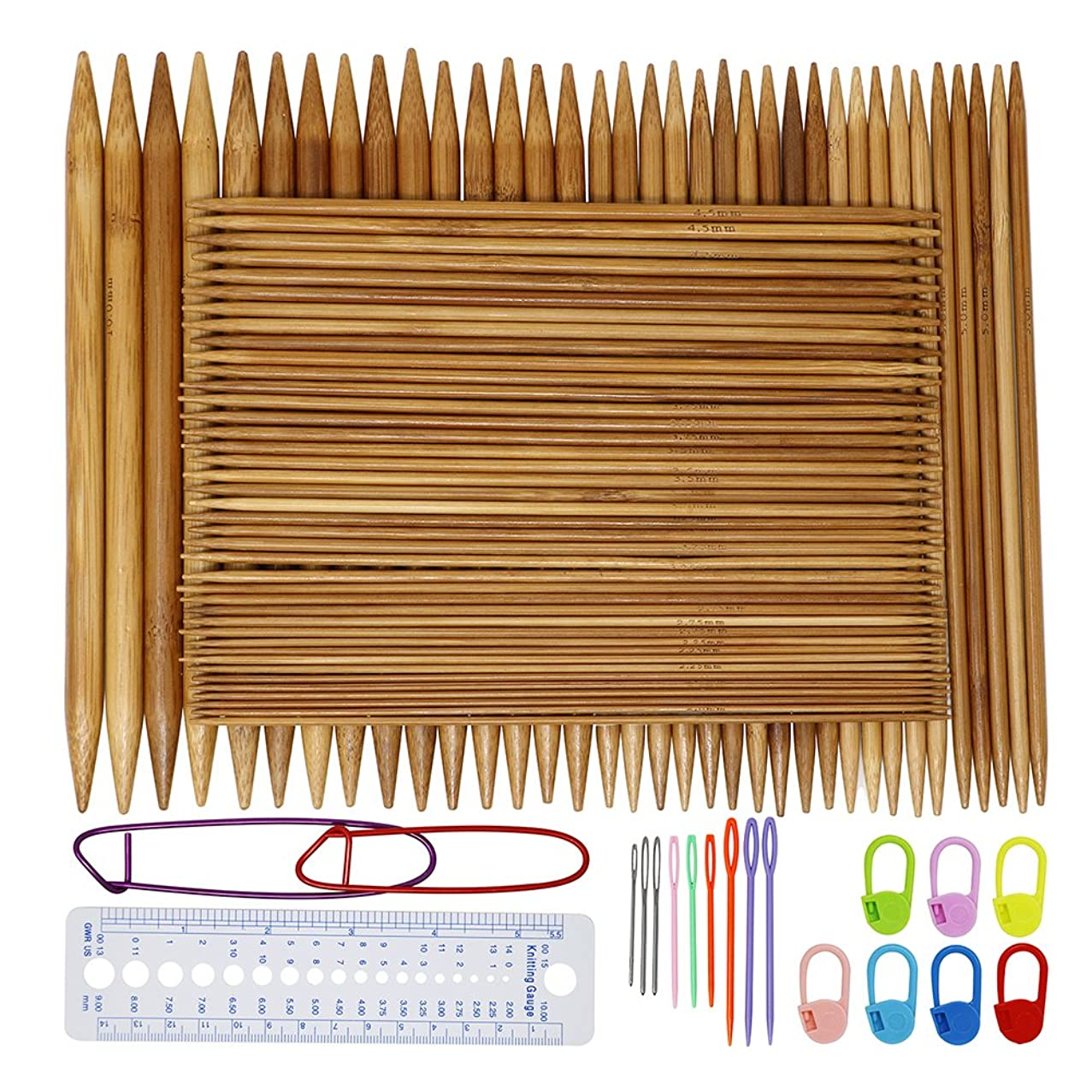 Onshine Knitting Needles Set 75Pcs 8 Inch Length Bamboo Double Pointed Knitting Needles 15 Sizes 2 mm - 10 mm with 45Pcs Exquisite Knitting Accessories