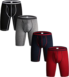 Nuofengkudu Pack of 3 & 4 Men's Long Leg Boxer Shorts Briefs Cotton Multipack Open Fly Pouch Sports Underpants Underwear A...