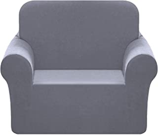 Chelzen Stretch Chair Cover 1-Piece Polyester Spandex Fabric Arm-Chair Slipcover Living Room Sofa Couch Slip Covers Protectors (Chair, Light Gray)