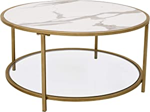 """Ravenna Home Parker Round Shelf Storage Coffee Table, 31.5""""W, Faux Marble/Gold/Glass"""