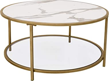 "Amazon Brand – Ravenna Home Parker Round Shelf Storage Coffee Table, 31.5""W, Faux Marble/Gold/Glass"