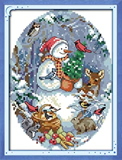 Cross Stitch Kits, The Snowman's Friends Christmas Awesocrafts Easy Patterns Cross Stitching Embroidery Kit Supplies Christmas Gifts, Stamped or Counted (Snowman's Friends, Counted)