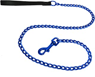 Platinum Pets Stainless Steel Dog Leash with Leather Handle