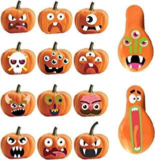 zlhcgd 4 Sheets Halloween Pumpkin Stickers, 12 Funny and Classic Pumpkin Expressions Stickers for Pumpkins and Squashes, Halloween Pumpkin Decorations