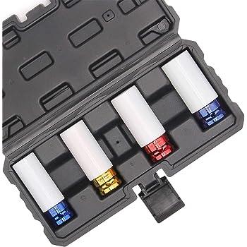 "CASOMAN 1/2- Inch Drive Wheel Protector Impact Socket, 1/2"" Thin Wall Deep Impact Socket Set Plastic Sleeve Lug Nut, 4 Pieces Set, 6 Point,Metric, 17mm,19mm,21mm,22mm"
