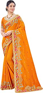 Indian Vichitra Silk Designer Resham & Embroidery Border Saree Party wedding Woman Sari 6733