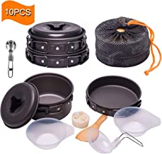 Outton Outdoor Camping Cookware Set Pots&Pans, Nonstick Lightweight Foldable Camping Stove for Picnic, Hiking, Backpacking, Heating Food Bowls for 1-2 Persons with Mesh Bag