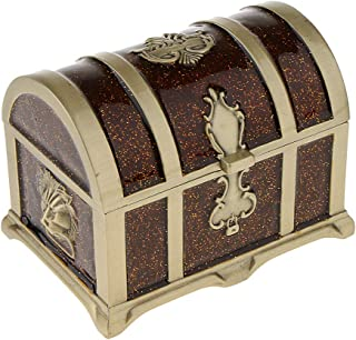 Prettyia Rectangle Vintage Soft Enamel Treasure Chest Trinket Jewelry Box Case Holder - Brown, 10.6 x 7.2 x 7.5cm