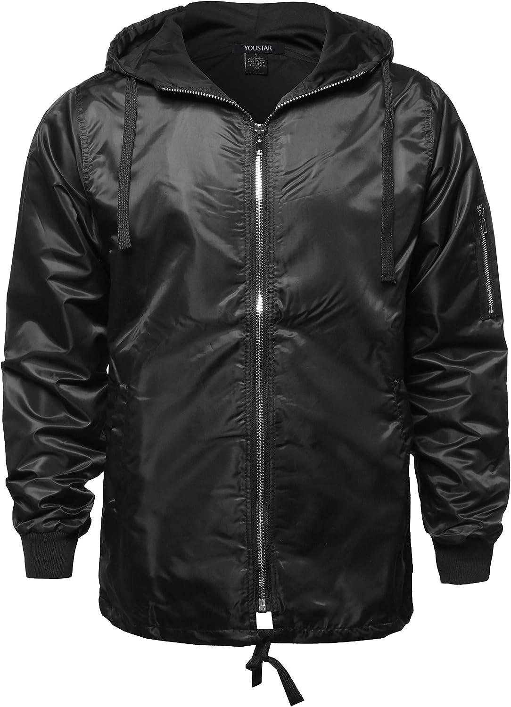 Regular discount Youstar Men's Casual Solid Color Charlotte Mall Zipper Detail Waterproof Windbr